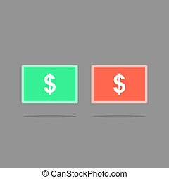 Money icon button vector illustration, dollar money button icon.