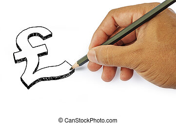 Money icon by hand drawing on white back ground