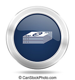 money icon, dark blue round metallic internet button, web and mobile app illustration
