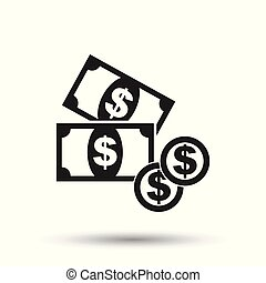 Money icon. Flat vector illustration. Dollar money sign symbol with shadow on white background.