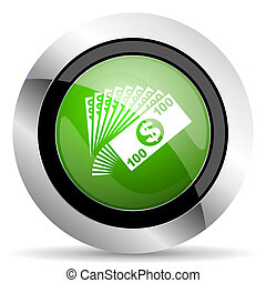 money icon, green button, cash symbol