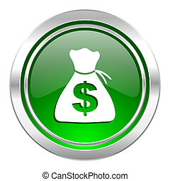 money icon, green button