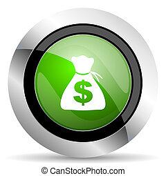 money icon, green button