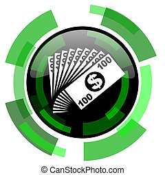 money icon, green modern design isolated button, web and mobile app design illustration
