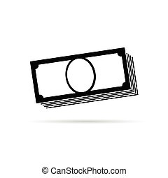 money icon in black vector illustration