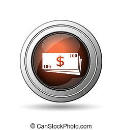 Money icon. Internet button on white background.