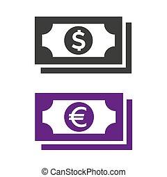 Money icon on white background.