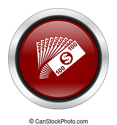 money icon, red round button isolated on white background, web design illustration
