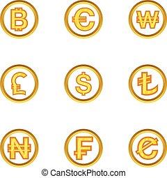 Money icon set, cartoon style