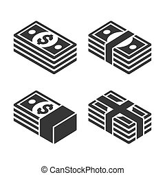 Money Icon Set on White Background. Vector