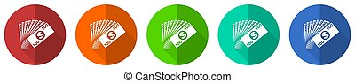 Money icon set, red, blue, green and orange flat design web buttons isolated on white background, vector illustration