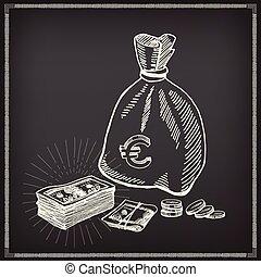 Money icon sketch design.
