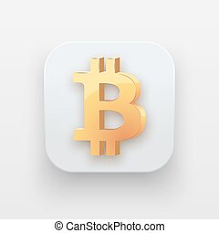 Money icon. Symbol of Gold Bitcoin