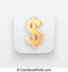 Money icon. Symbol of Gold Dollar