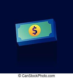 Money icon. Vector illustration. color. logo. symbol. on blue background