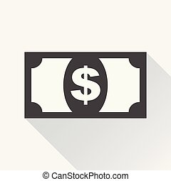 Money icon. Vector illustration in flat style. Dollar with long shadow on white background.