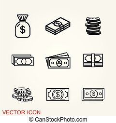 Money icon vector, sign isolated on background, flat design style