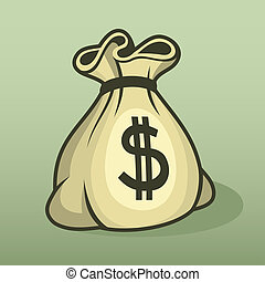 Money icon with bag, color .