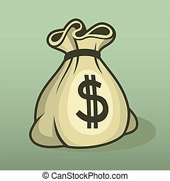 Money icon with bag, color vector.