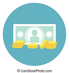 Money Icon With Coins Web Button On Round Blue Background