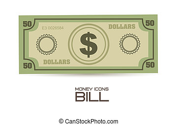 illustration of money icons. Bill illustrations, vector illustration