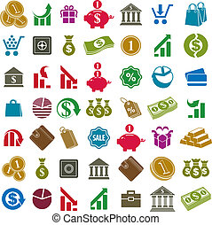 Money icons isolated on white background vector set, finance...