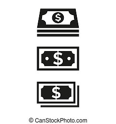 Money icons on white background.