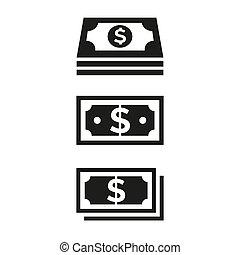 Money icons on white background.