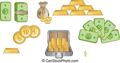 Money icons on white