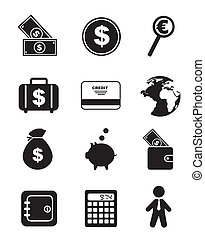 money icons over white background. vector illustration