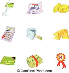 Money icons set, cartoon style