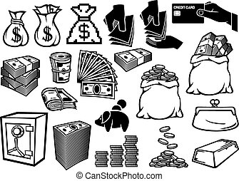 money icons set (finance or banking icons, money bag, bag with coins, hand giving money, safe, bullion, money roll, big stack of money, stack of coins, credit card, old purse, piggy bank)
