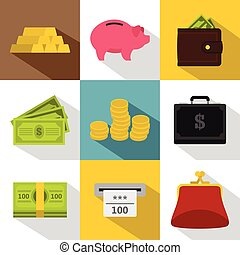 Money icons set, flat style