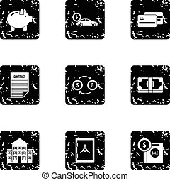 Money icons set, grunge style