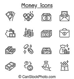 Money icons set in thin line style