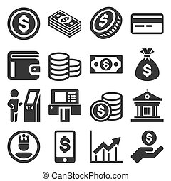 Money Icons Set on White Background. Vector