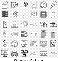 Money icons set, outline style