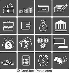 Vector Money icons: banknotes coins bank card paycheck