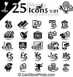 Money and finance icon set, basic series
