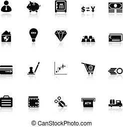 Money icons with reflect on white background, stock vector