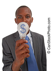 Money Idea ($) - This is an image of a businessman trying to...