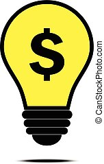 Money idea with dollar and bulb sign concept