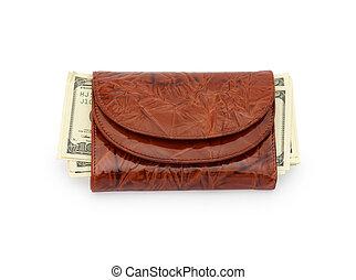 Money in a brown purse