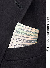 money in a business suit pocket