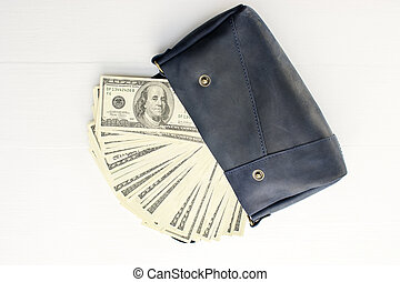 Money in bag on white background.