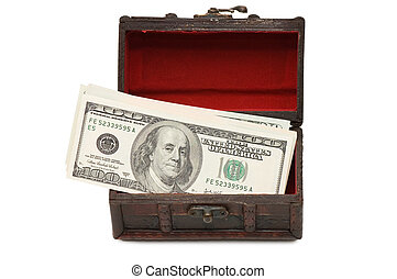 Money in box isolated on white background