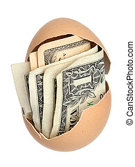 money in brown eggshell