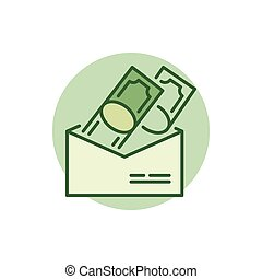 Money in envelope colorful icon