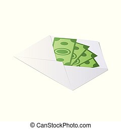 Money in envelope.. Isometric vector illustration.
