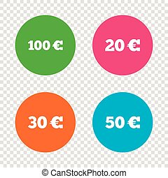 Money in Euro icons. Hundred, fifty EUR.